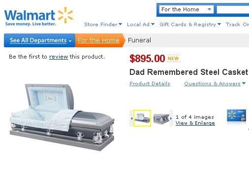 Wal-Mart offers cut-price coffins (no returns allowed) thumbnail